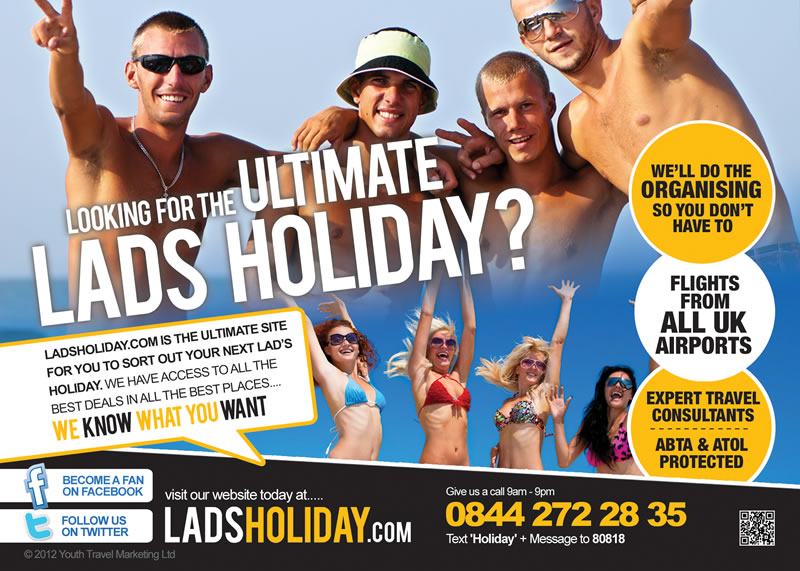 Lads Holiday half page advert design