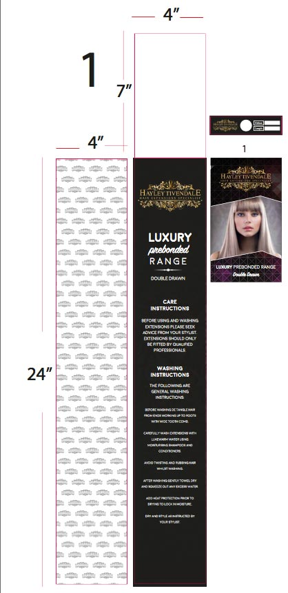 wallet packaging hair extensions final mock design