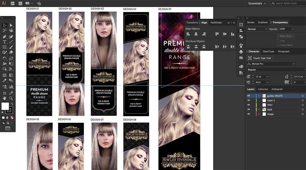 variations of initial box packaging designs for hair extensions company