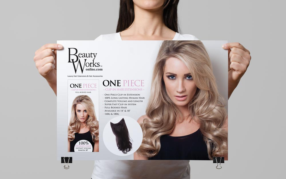 hair-extensions-beauty-works-gold-clip-in-human-flyer-print-advertising-design
